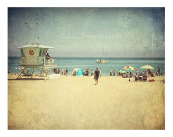 Vintage Beach photo. Santa Cruz California. Summer scene. beach house decor. retro photography. blue. sand. people. ocean. beach boardwalk.