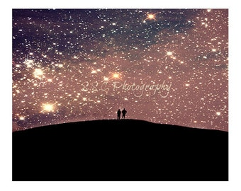 Night Photo. Starry sky Photo. Love. Romantic. Couple. People. Purple. Pink. Black. Stars. Cosmic. Dreamy. Surreal