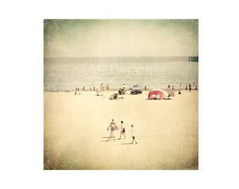 "Vintage Beach photo. ""Boys of Summer"". Retro.  Beach. Ocean. Sand. Boys. Water. Texture. retro. Santa Cruz. California. summer. nautical"