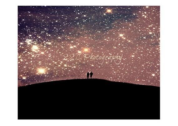 Night Photo. Starry sky Photo. Love. Romantic. Couple. People. Purple. Pink. Black. Stars. Cosmic. Dreamy. Surreal