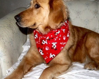 I Woof You Valentine's Day Red Dog Tie on Bandana / Scarf, Valentine dog bandana, red bandana, dog scarf