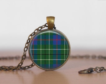 DUNCAN TARTAN Pendant Necklace / Scottish Tartan Jewelry / Ancestral Jewellery / Duncan Clan /  Family Jewelry / Personalized Gift / boxed