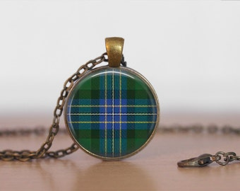 HUGHES TARTAN Pendant Necklace / Scottish Tartan Jewelry / Ancestral Jewellery / Hughes Clan /  Family Jewelry / Personalized Gift / boxed