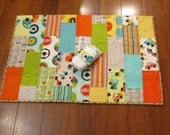 """Sale Riley Blake Peak Hour Cars and Trucks Baby or Toddler Boy Quilt 39"""" x 49"""" with Matching Diaper Strap"""