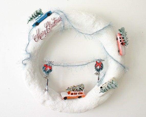 Medium White Glittered Snowy Scene Terrarium Wreath- Tree Shopping