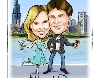 Custom Caricature Portrait Save the Date Cards, Magnets, and Invitations. Cute cartoon save the dates!