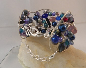 Another Blue Crystal and Pearl Wire Cuff with Sterling Silver