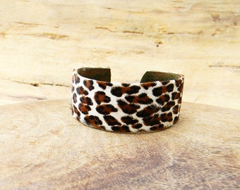 Antique Brass and Cowhide Leather Fur Cuff Bracelet
