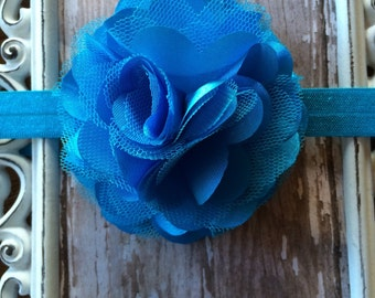 Satin and Tulle Turquoise Blue Flower Headband Babies, Toddlers, Girls