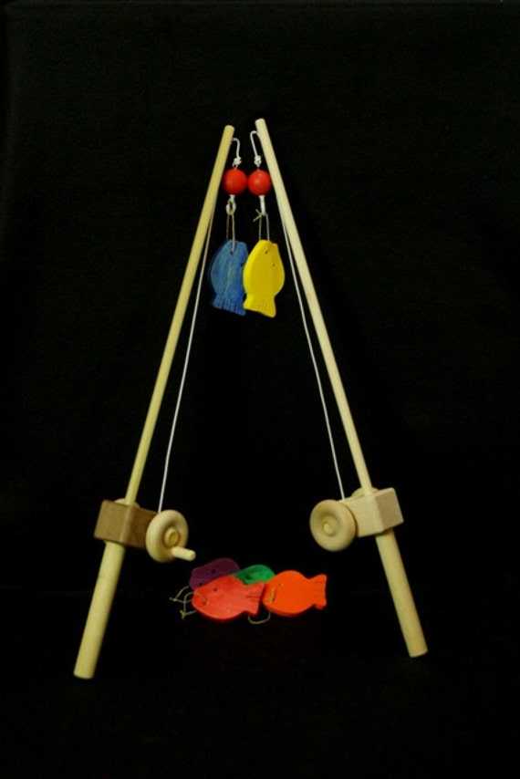 Wooden toy fishing pole with a hook for Wooden fishing pole