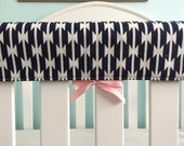 MORE COLORS Crib Teething Rail Padded Front Cover with Fabric Ties 51 inches - Tomahawk Stripe in Navy