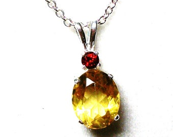 "canary copal, canary copal necklace, yellow copal, garnet copal, 2 stone necklace, ""Cats in the cradle"""