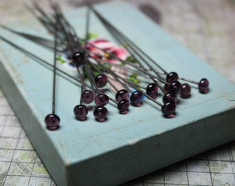 2 Antique Deep Violet Glass Hat Pins