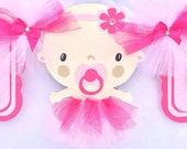 Its a girl, tutu baby shower banner, light pink and fuchsia pink, polka dots, photo prop