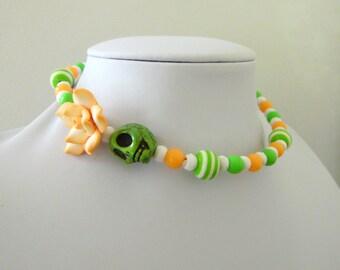 Day of the Dead Necklace Sugar Skull Choker Memory Wire Green Peach Orange White