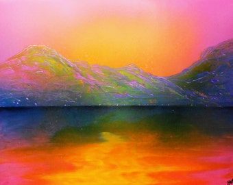 "Spray Paint Art Original Sunset Mountain Lake Landscape Poster 14"" x 11"""