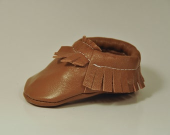 Caramel Leather Baby Moccasins
