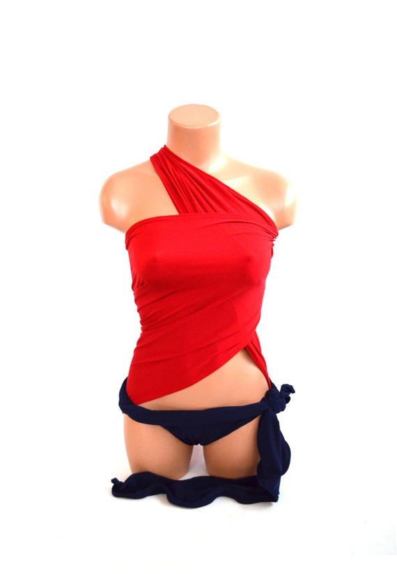 Red & Navy Wrap Bathing Suit from hisOpal