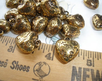 11mm Heart Charms Beads Antique Gold Color floral design crafts scrapbooking jewelry supply charms pendant metallic plastic 18 each