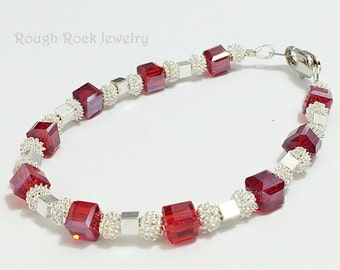 Red and Silver Bracelet / Red Crystal and Silver Wire Bead Bracelet / Holiday Bracelet