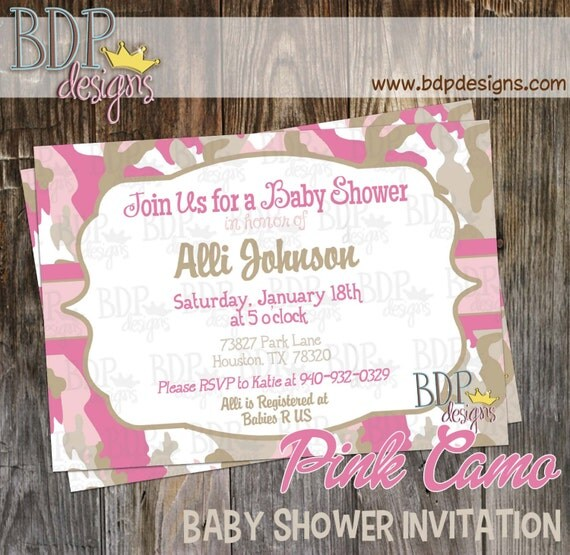 pink camo baby shower invitation customized digital download or