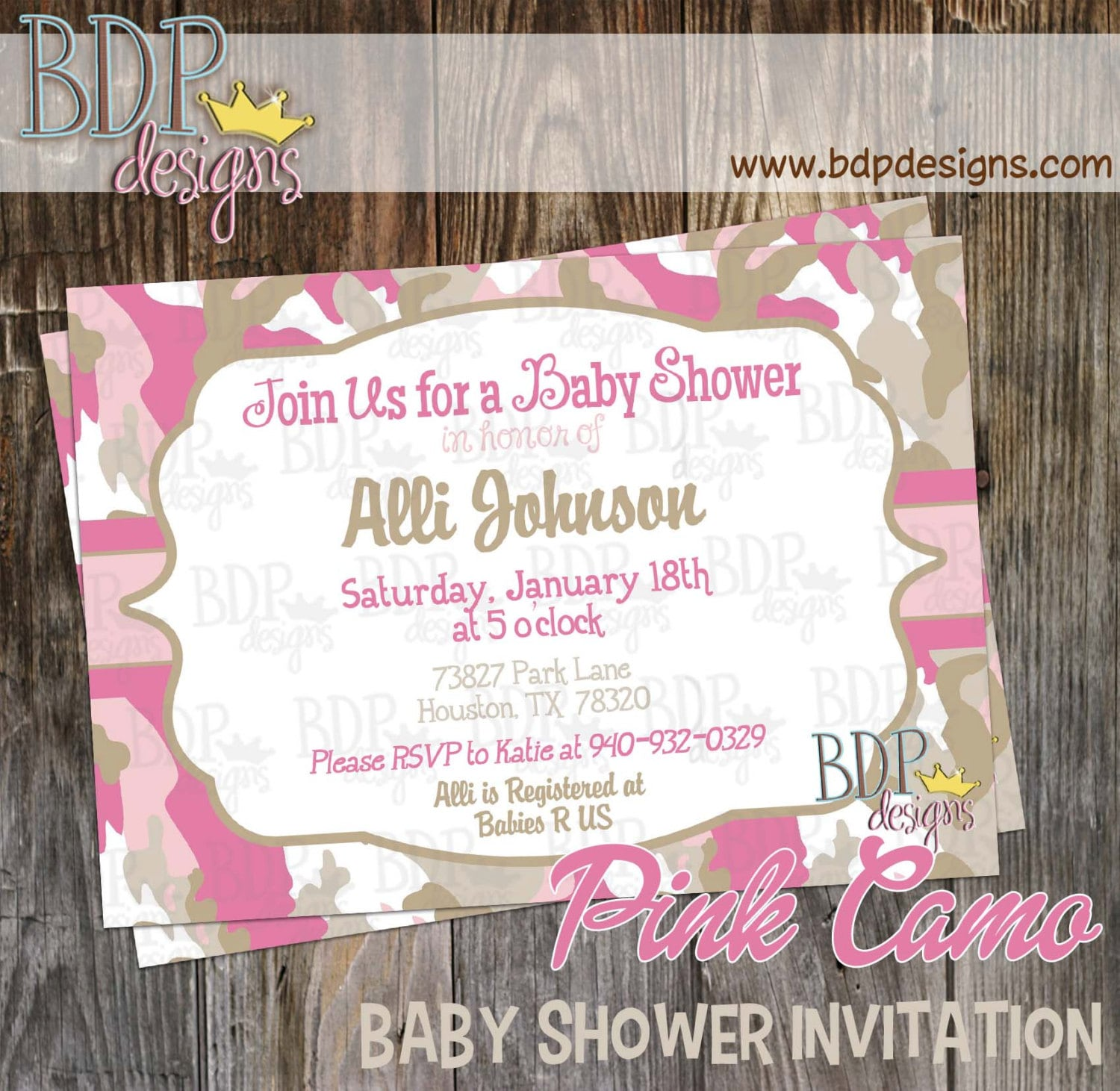 pink camo baby shower invitation customized digital download