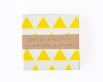 Yellow Triangles Handmade Ceramic Tile Modern Coasters Geometric White and Yellow Spring Summer