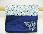 Walker Bag in Navy with a Green Leaf Embroidery