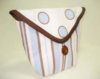 Bicycle Handlebar Bag in a Blue and White Polka Dot and Striped Fabric