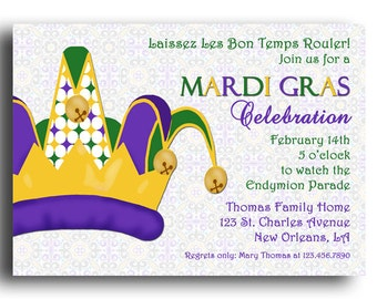 Mardi Gras invitation Printable or Printed with FREE SHIPPING - ANY Wording - Mardi Gras Party