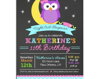 Night Owl Invitation Printable or Printed with FREE SHIPPING- Birthday or Baby Shower - Night Owl Collection