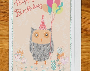 owl with balloons birthday card, greetings card, woodland party with flowers