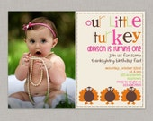 Little Turkey Birthday Invitation, Thanksgiving Birthday Invitation with photo