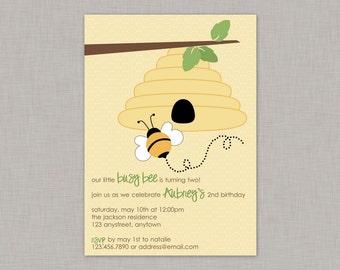 Bee Birthday Invitation, Bumble Bee Invitation, Bee Baby Shower Invitation