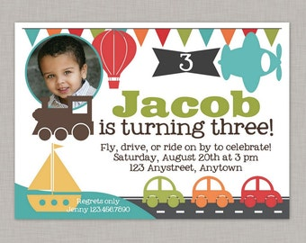 Transportation Invitation, Transportation Birthday Invitation, Printable