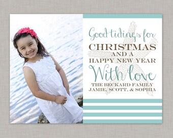 Nautical Christmas Card, Christmas Photo Card, Holiday Card, Starfish, Printable