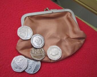 Sweet little peach acetate satin coin purse vintage
