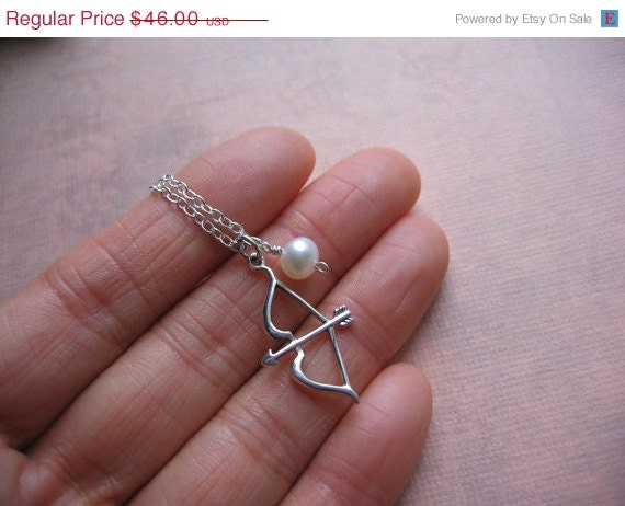 NEW YEAR Bow and Arrow Necklace - Sterling Silver Bow and Arrow, White Pearl - Survivor Jewelry - Hunger Games Inspired