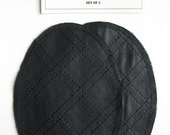 Elbow Patches - Black Quilt Faux Leather  - Set of 2