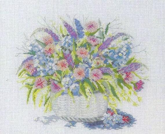Flower Baskets Cross Stitch Charts : Flower basket cross stitch chart by needleandcrafts on etsy
