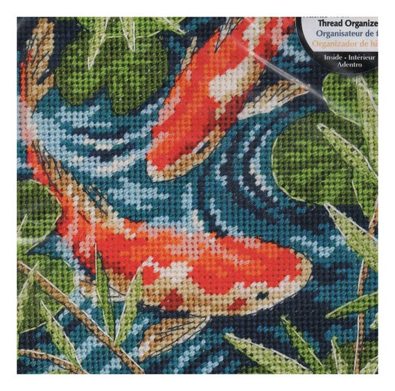 Koi pond dimensions needlepoint kit by needleandcrafts on etsy for Koi pond dimensions
