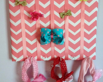 Hair Bow Holder Small-Medium-Large Coral Pink/White Chevron Padded Hair Bow Organizer with Hooks for Headbands