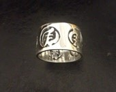 Silver Ring Band Gye Nyame God first afrocentric adinkra mens unisex artist signed handmade sterling made to size