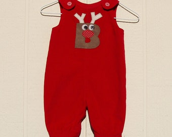 Red Corduroy Overall with Reindeer Initial