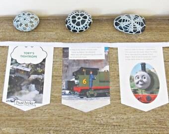 Thomas The Tank Engine Bunting Toby's Tightrope Wall Hanging Trains Children Decor Garland White British Railway Domum Vindemia