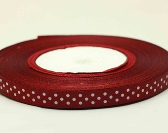 "Red Wine Satin Polka Dot Ribbon-3/8""-5 or 10 YDS"