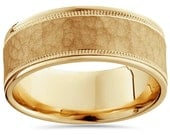 Hammered 14K Yellow Gold 8MM Mens Wedding Ring Band