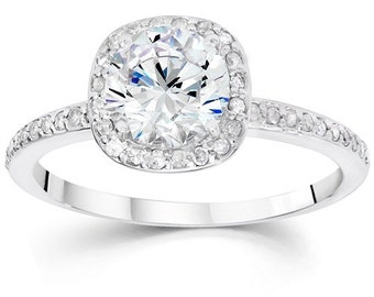 Cushion Halo Diamond Engagement Ring 1.25CT Cushion Halo Vintage Ring White Gold Round Brilliant Cut Vintage Antique I-J I3