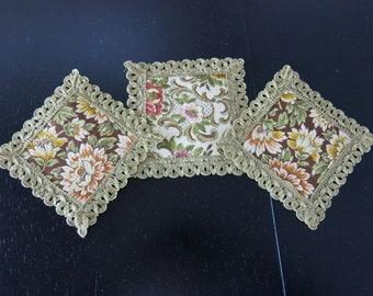3 Vintage German Tapestry Coasters Woved Gold Braid Trim 899+