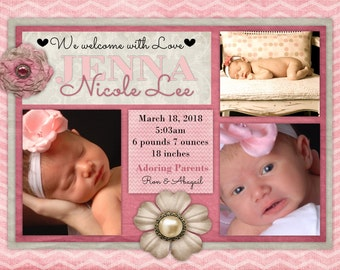 Vintage Floral Baby Girl Birth Announcement